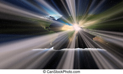 wereld, islam, op, licht