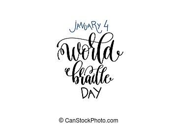 wereld, -, januari, lettering, hand, braille, inscriptie, ...