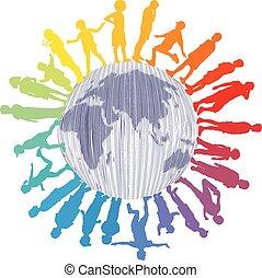 wereld, kinderen, kleurrijke