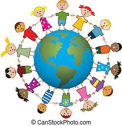 wereld, kinderen, ongeveer