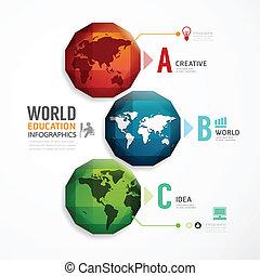 wereld, kleurrijke, zijn, geometrisch, moderne, infographics, gebruikt, groenteblik, ontwerp, /