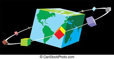 wereld, kubus
