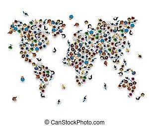 wereld, map., vorm, mensenmassa