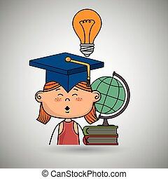 wereld, meisje, boek, student, kaart