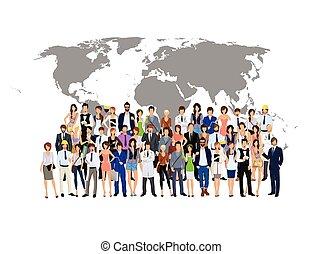 wereld, mensen, groep, kaart