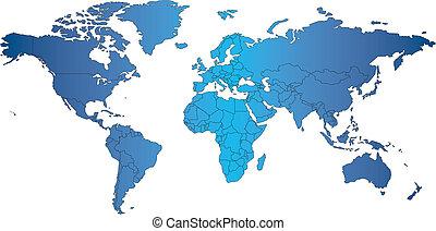 wereld, mercator, kaart, met, landen