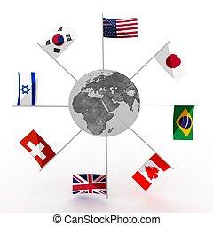 wereld, met, vlaggen