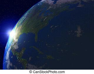 wereld, met, zon, en, heelal