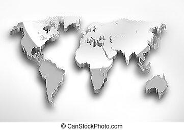 wereld, metaal, kaart