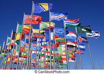 wereld, nationale, vlaggen