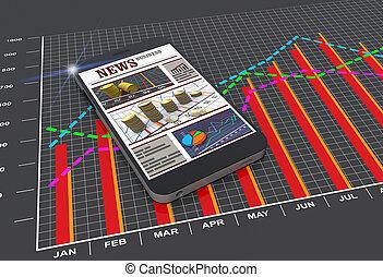 wereld, nieuws, artikelen, op, digitale , beweeglijk, smart, telefoon