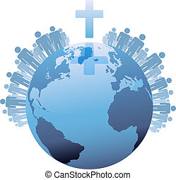 wereld, onder, populations, aarde, kruis, globaal, christen