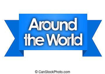wereld, ongeveer, lint, blauwe achtergrond