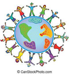 wereld, ongeveer, mensen