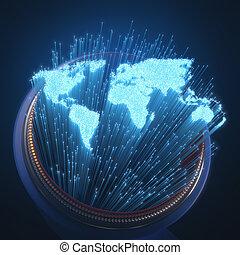 wereld, optische vezel