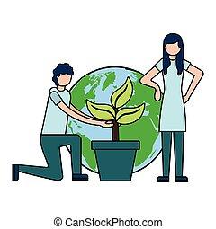 wereld, paar, plant