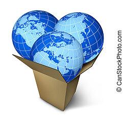wereld, pakket, expeditie