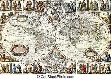 wereld, papier, oud, map.