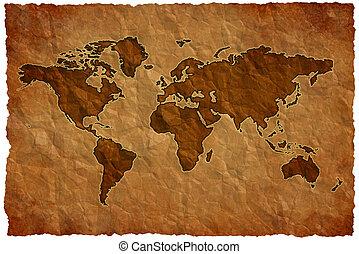 wereld, papier, verkreukelen, kaart
