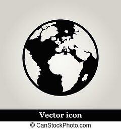 wereld, pictogram, kaart