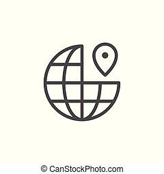 wereld, plaats, lijn, pictogram