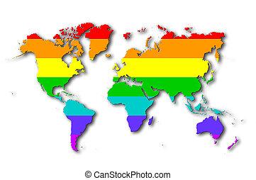 wereld, -, regenboog, markeer model