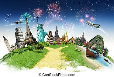 wereld reis, concept, monument