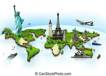 wereld reis, concept, monumenten