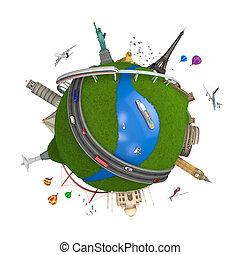 wereld reis, globe, concept, vrijstaand