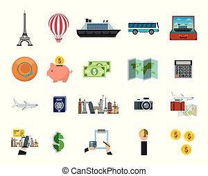 wereld reis, set, ongeveer, iconen