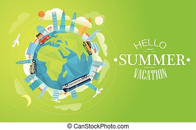 wereld reis, vector, reis, vehicle., door, hallo, anders, concept, illustration.
