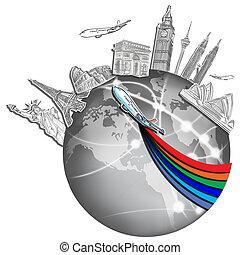 wereld reis, whiteboard, droom, ongeveer