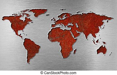 wereld, roestige , concept, metaal, kaart