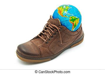 wereld, schoen