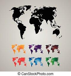 wereld, set, continenten, kaart