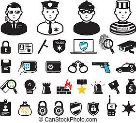 wereld, set, misdaad, symbolen