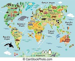 wereld, spotprent, kaart