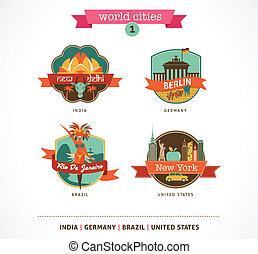 wereld, steden, etiketten, -, delhi, berlin, rio, new york