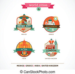 wereld, steden, etiketten, -, santorini, londen, agra, mexico