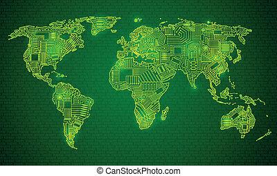 wereld, stijl, technologie, kaart