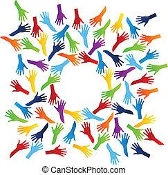 wereld, team, handen
