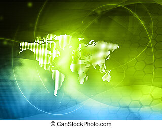 wereld, technology-style, kaart