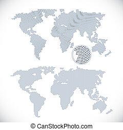 wereld, twee, dotted, landkaarten