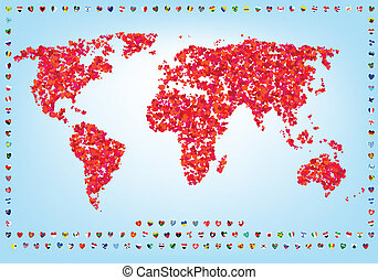 wereld, van, liefde, kaart, met, vlaggen