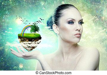 wereld, van, magic., vrouwlijk, verticaal, met, abstract, wereld, in, hand