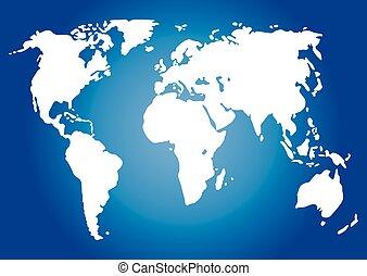 wereld, vector, illustratie, kaart