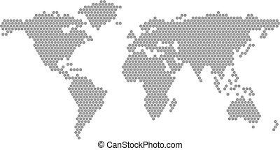 wereld, vector, kaart