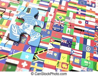 wereld, verenigd, vlaggen, naties