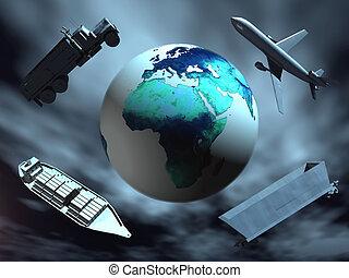 wereld, vervoer, ongeveer