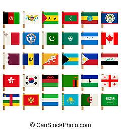 wereld, vlag, iconen, set, 3